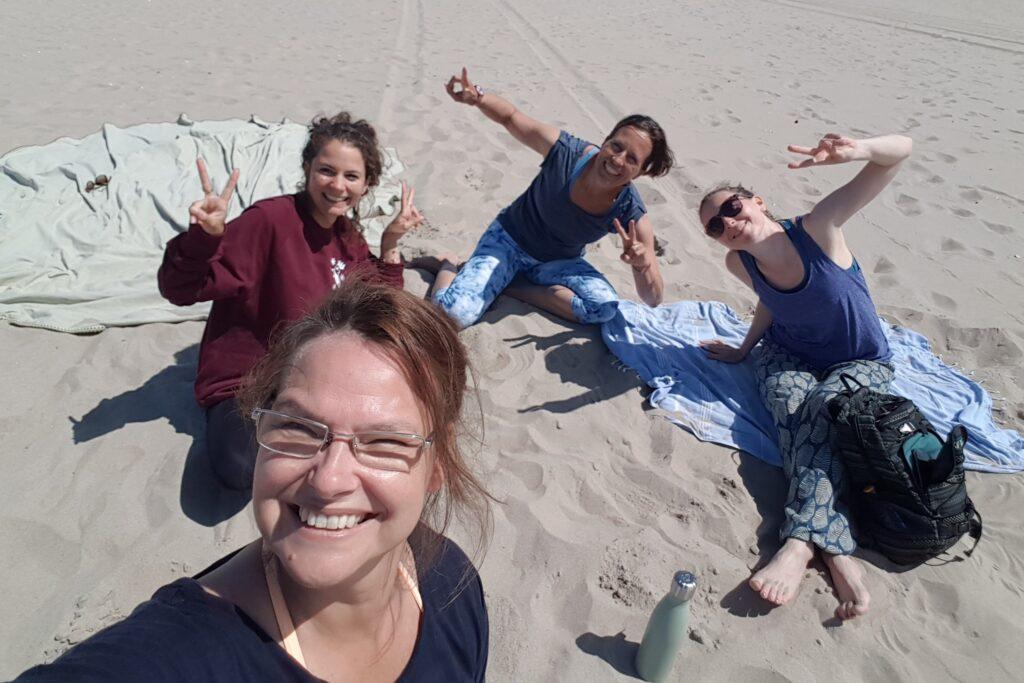 four yogi's having fun after yoga